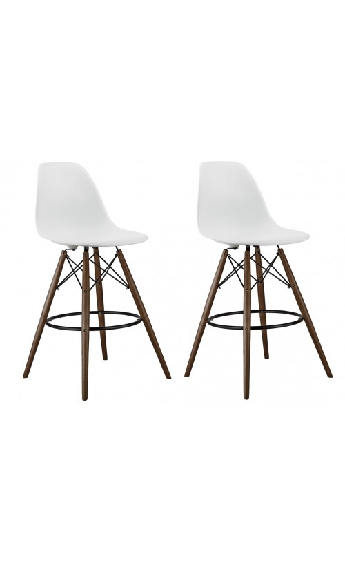Set of 2 26 Inch White DSW Counter Stool with Dark Walnut Wood Eiffel Legs