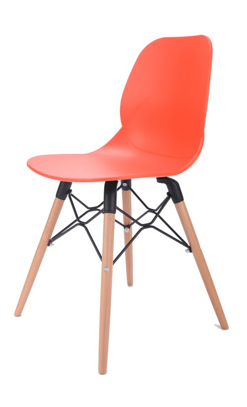 Joy Series Orange Dining Shell Side Designer Task Chair with Beech Wood Legs