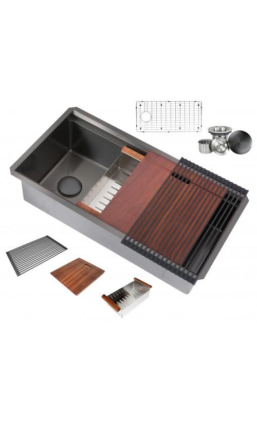 Ariel Enthous Workstation 36 Inch Undermount 16 Gauge Single Bowl Nano Black Stainless Steel Kitchen Sink w/ Integrated Ledge, 15mm Tight Radius, Premium Accessories Bundle