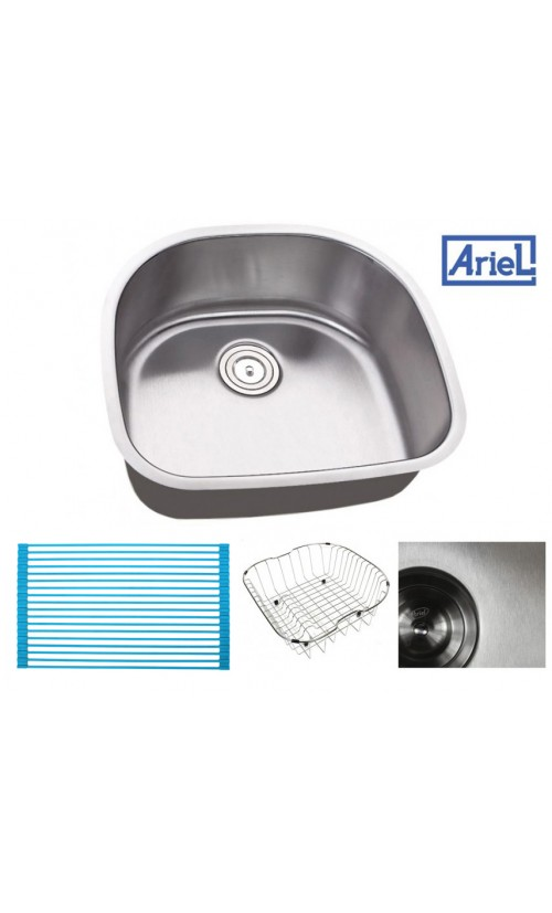 Ariel Pearl 23 Inch Premium 16 Gauge Stainless Steel Undermount Single D-Bowl Kitchen Sink with FREE ACCESSORIES