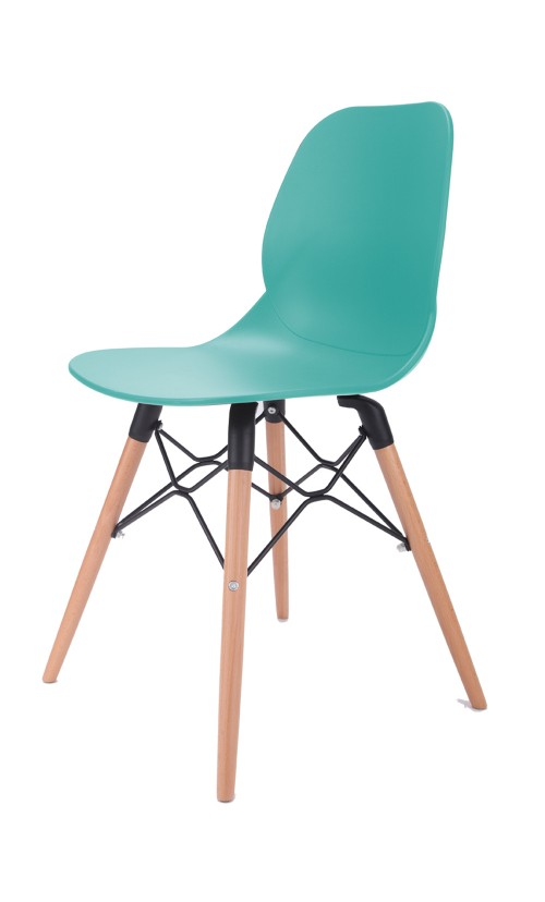 Joy Series Turquoise Dining Shell Side Designer Task Chair with Beech Wood Legs