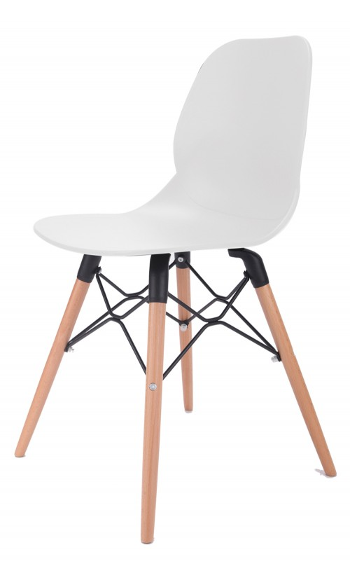 Joy Series White Dining Shell Side Designer Task Chair with Beech Wood Legs