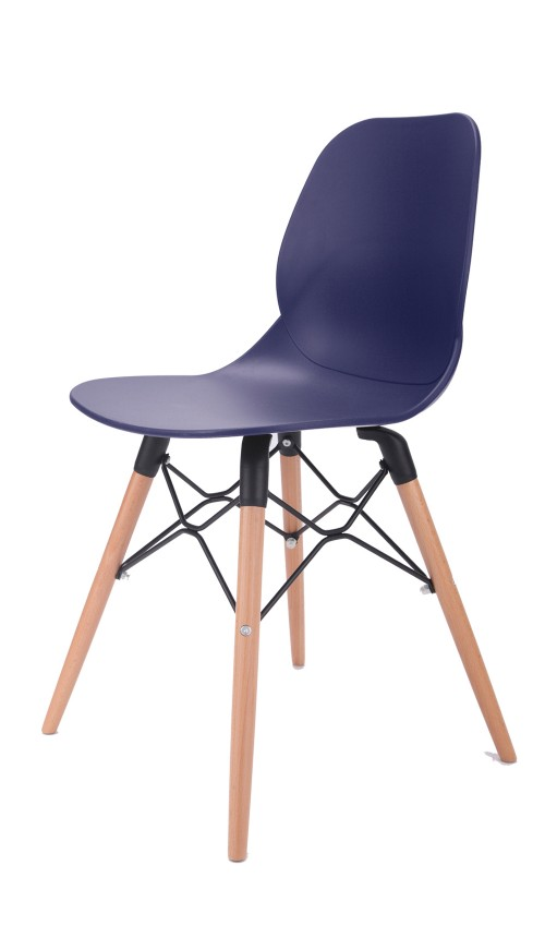 Joy Series Navy Dining Shell Side Designer Task Chair with Beech Wood Legs