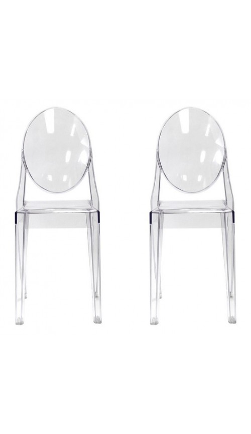 Set of 2 Modern Contemporary Design Kitchen Dining Side Chair Crystal Clear Transparent