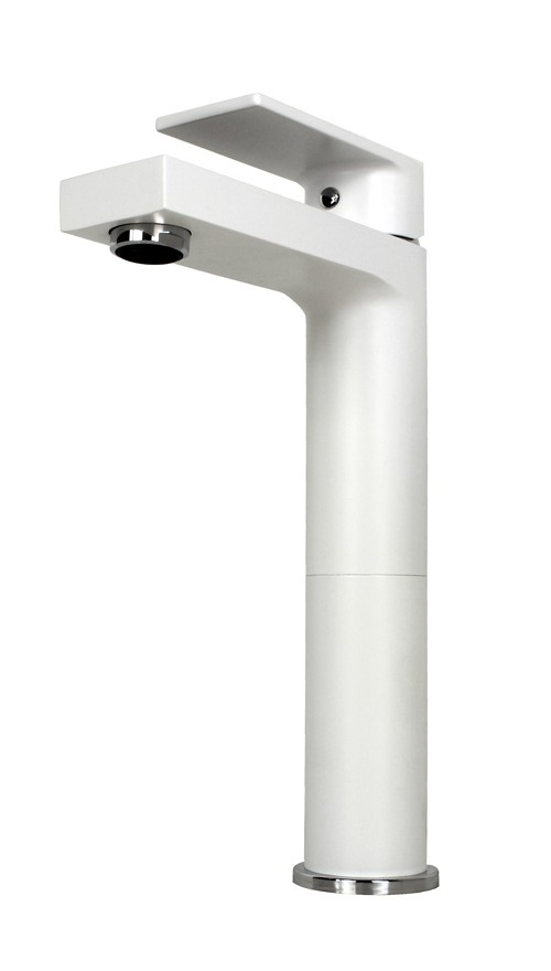 Adrian Matte White Chrome Bathroom Vessel Sink Single Hole Faucet