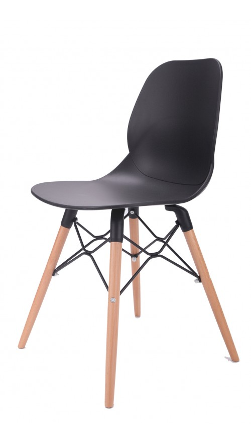 Joy Series Black Dining Shell Side Designer Task Chair with Beech Wood Legs