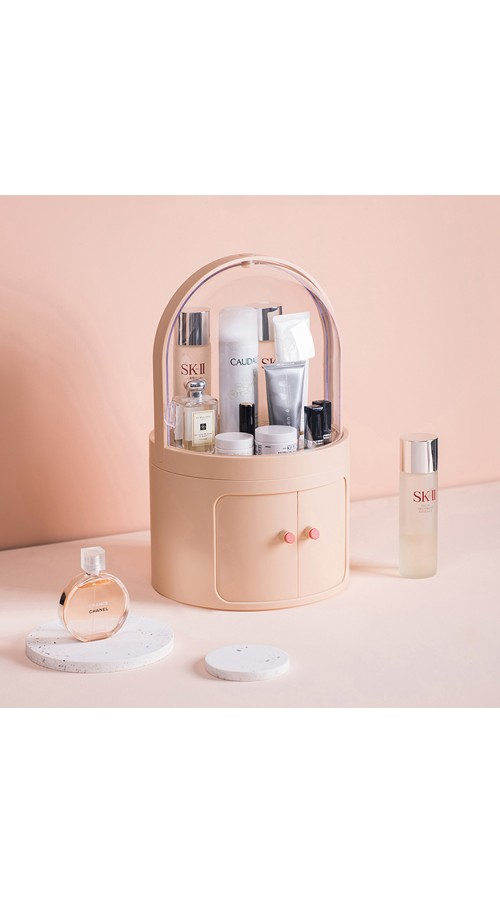 CozyBlock High Dome Makeup Container Storage in Pink, Cosmetic Display Showcase, Dustproof Makeup Organizer, Multi-level Protective Cosmetic Organizer, Jewelry and Makeup Cabinet, All in One Skincare Holder