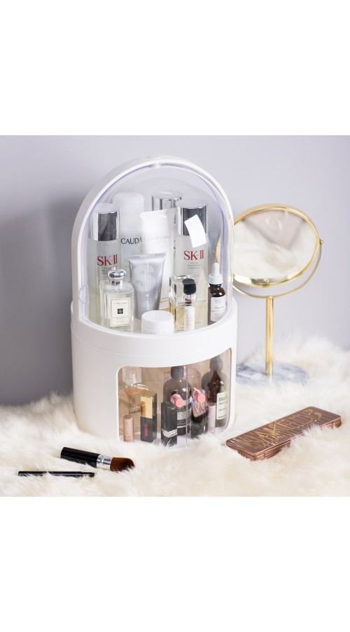 CozyBlock High Dome Makeup Container Storage in White, Cosmetic Display Showcase, Dustproof Makeup Organizer, Multi-level Protective Cosmetic Organizer, Jewelry and Makeup Cabinet, All in One Skincare Holder