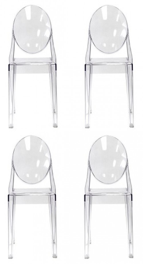 Set of 4 Modern Contemporary Design Kitchen Dining Side Chair Crystal Clear Transparent