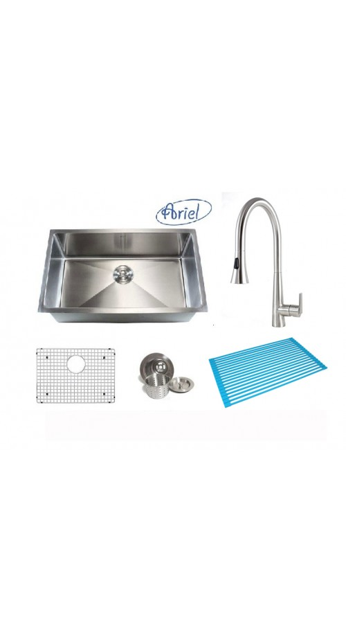 Ariel 32 Inch Single Bowl 15mm Radius Design Kitchen Sink and Eclipse Design Stainless Steel Faucet Combo