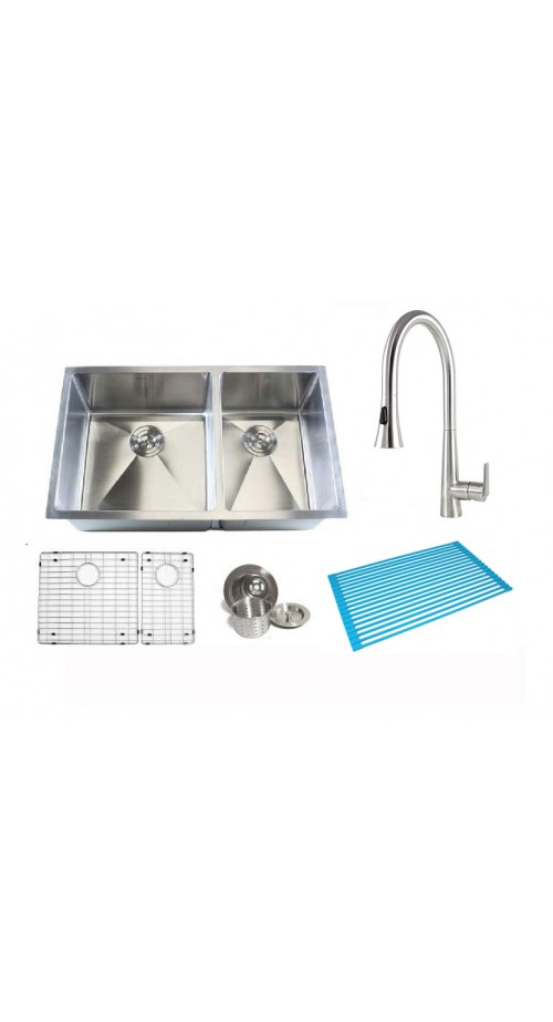 32 Inch 60/40 Double Bowl 15mm Radius Design Kitchen Sink and Eclipse Design Stainless Steel Faucet Combo