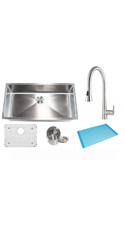 32 Inch 50/50 Double Bowl 15mm Radius Design Kitchen Sink and a Eclipse Design Stainless Steel Faucet Combo