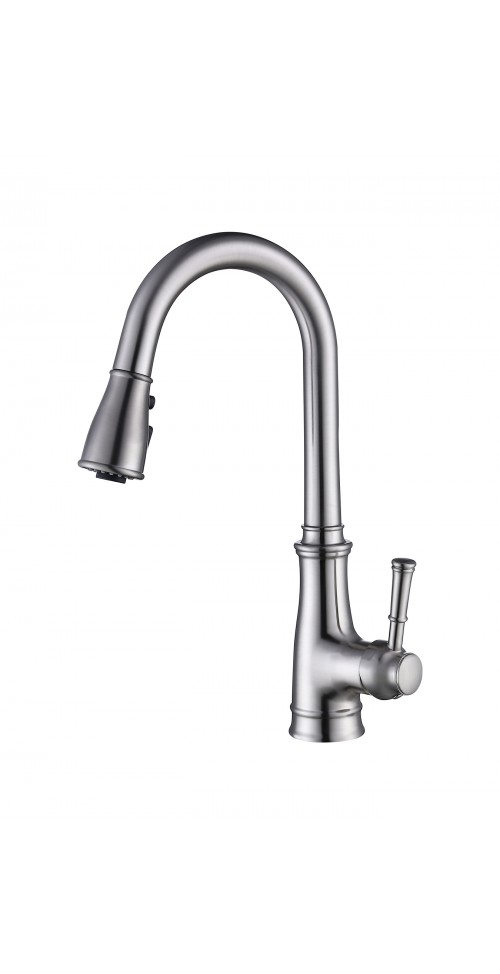 ARIEL Romeo Kitchen Faucet with 3-Way Pull Down Sprayer w/ Power Sweep | Lead-free Single Handle Brushed Nickel Kitchen Faucet | Modern High Arc Pre-rinse Sprayer Faucet