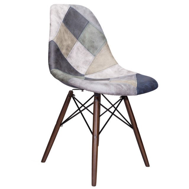 Pleasing Mooku Blue Gray Patchwork Leatherette Fabric Upholstered Dsw Dining Side Accent Chair With Dark Walnut Leg Ncnpc Chair Design For Home Ncnpcorg