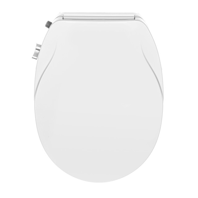 Groovy Slim Design Soft Close Dual Nozzles Non Electric Bidet Seat For Round Toilets In White With On Off Solid Brass T Adapter Ibusinesslaw Wood Chair Design Ideas Ibusinesslaworg