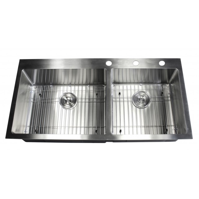 42 inch top-mount / drop-in stainless steel 60/40 double bowl
