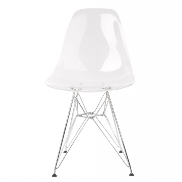 eames style dsr clear acrylic plastic dining shell chair with steel