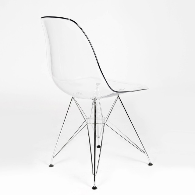 Superbe Eames Style DSR Clear Acrylic Plastic Dining Shell Chair With Steel Eiffel  Legs