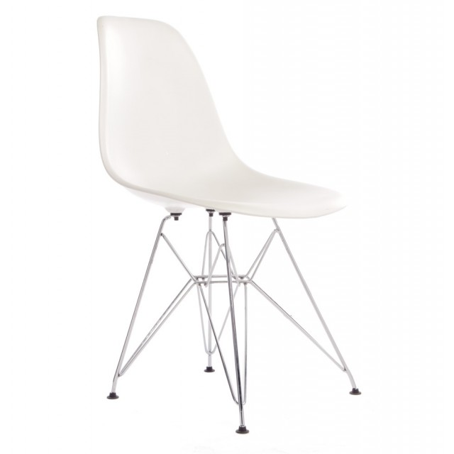 Set Of 4 DSR Molded White Plastic Dining Shell Chair With Steel Eiffel Legs