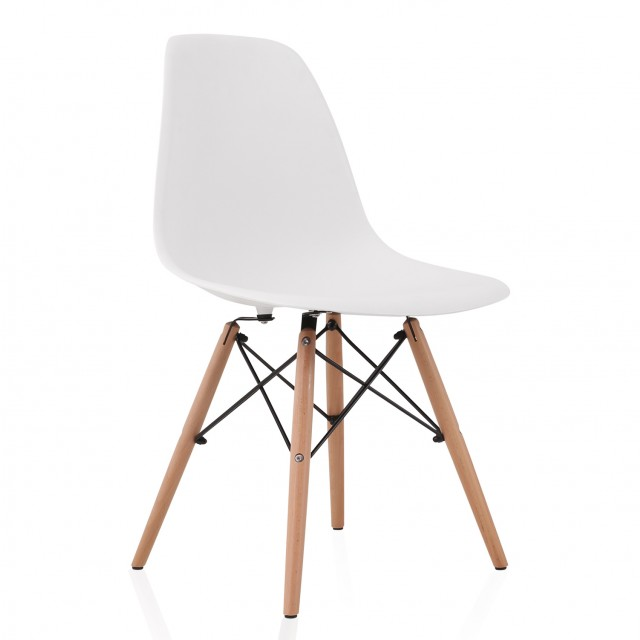 eames style dsw molded white plastic dining shell chair with wood