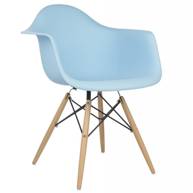 Set of 4 Eames Style DAW Molded Light Blue Plastic Dining ...