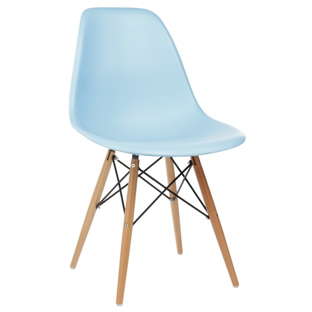 Delicieux DSW Molded Light Blue Plastic Dining Shell Chair With Wood Eiffel Legs