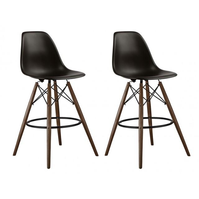 Set Of 2 Black DSW 26 Inch Counter Stool With Dark Walnut Wood Eiffel Legs