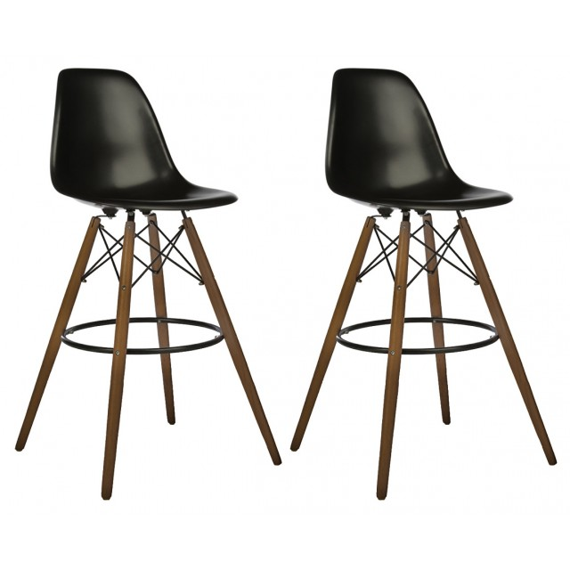 Set Of 2 30 Inch Dsw Black Plastic Bar Stool With Dark Walnut Eiffel Legs