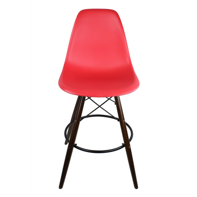 Set Of 2 Red Eames Style Dsw 26 Inch Counter Stool With