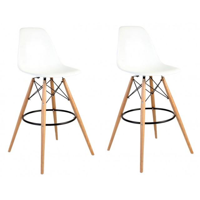 Set Of 2 30 Inch Dsw White Plastic Bar Stool With Wood Eiffel Legs