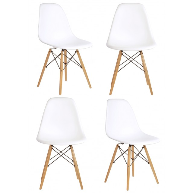 Set Of 4 Dsw Molded White Plastic Dining Shell Chair With Wood Eiffel Legs