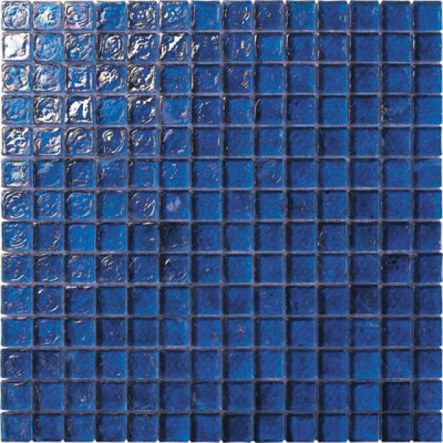 Cobalt Blue Irredescent Reflection Rippled Gl Mosaic Tile Mesh Backed Sheet