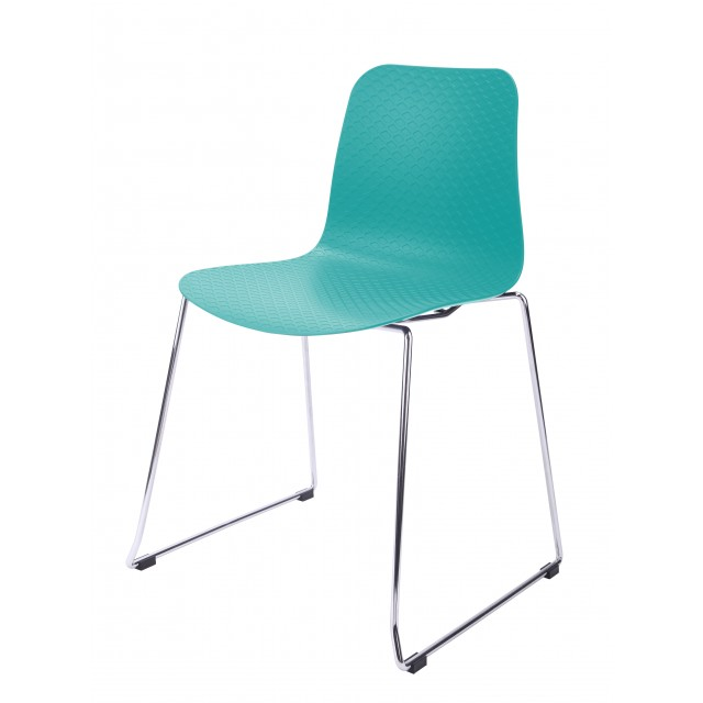 Ordinaire Hebe Turquoise Dining Shell Side Chair Molded Plastic Steel Metal Legs