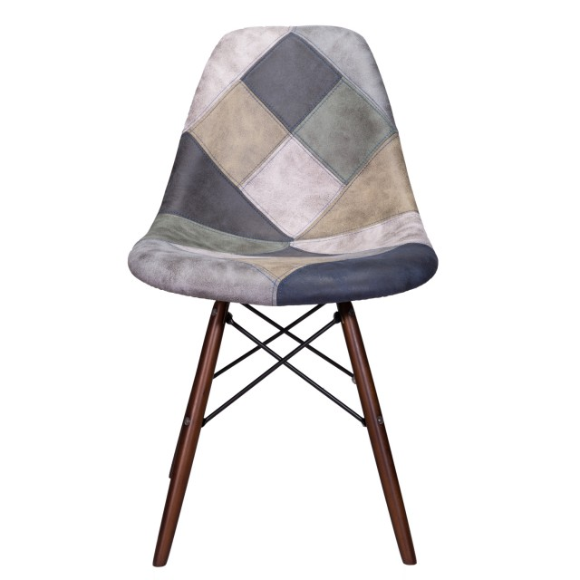 Wondrous Mooku Blue Gray Patchwork Leatherette Fabric Upholstered Dsw Dining Side Accent Chair With Dark Walnut Leg Ncnpc Chair Design For Home Ncnpcorg