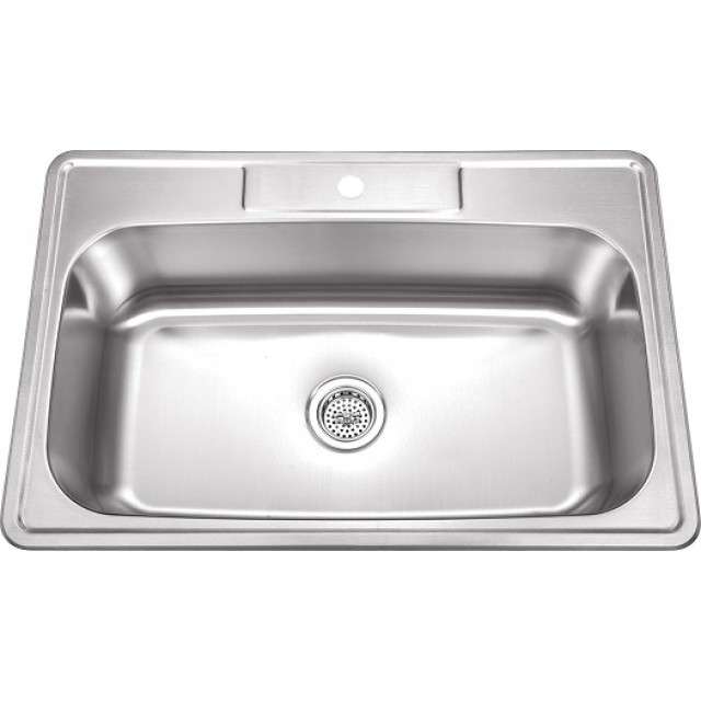Kitchen Sink 19 X 33: 33 Inch Stainless Steel Top Mount Drop In Single Bowl
