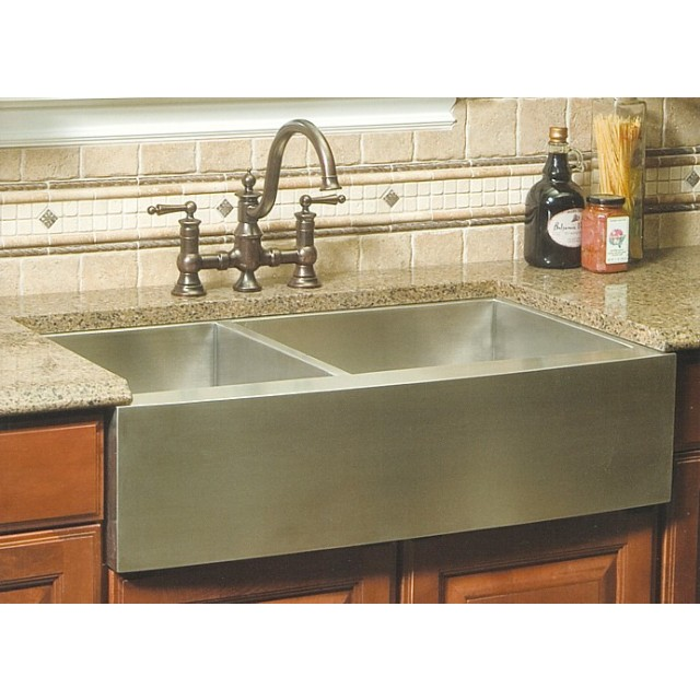 36 Kitchen Sink: 36 Inch Stainless Steel Curved Front Farm Apron 40/60