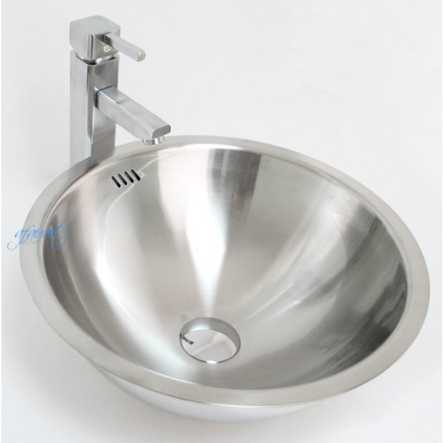 Round 18 Gauge Stainless Steel Drop In Undermount Countertop Bathroom Vessel Sink 16 1 4 X 7 Inch