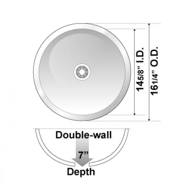 Round 18 Gauge Stainless Steel Drop In Undermount Countertop Bathroom Vessel Sink 16 1 4 X 7 Inch
