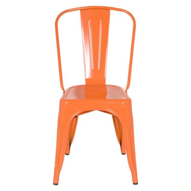 tolix style metal industrial loft designer orange cafe chair