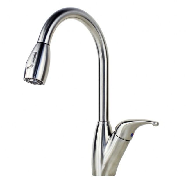 ariel tulip stainless steel lead free pull out sprayer kitchen faucet - Pull Out Kitchen Faucet