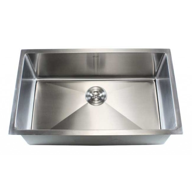 32 Inch Stainless Steel Undermount Single Bowl Kitchen Sink 15mm Radius  Design   16 Gauge