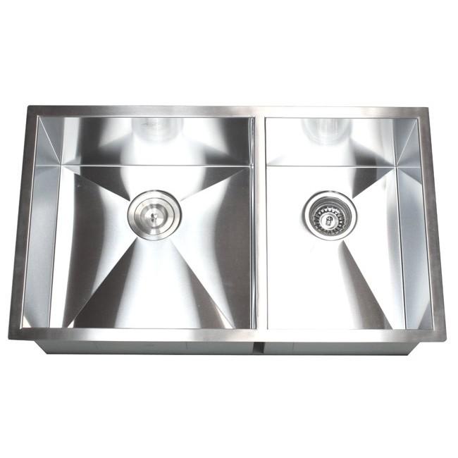 32 Inch Stainless Steel Undermount 60/40 Double Bowl Kitchen Sink Zero  Radius Design