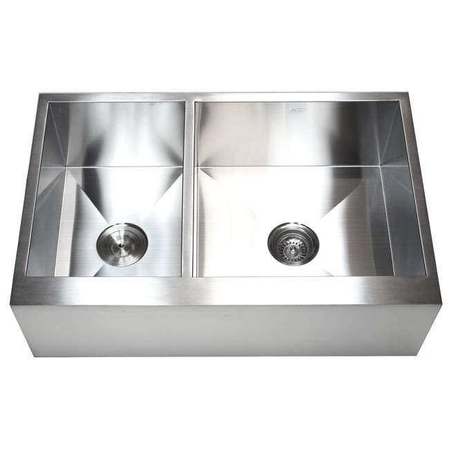 33 Inch Stainless Steel 40/60 Double Bowl Flat Front Farm Apron Kitchen Sink