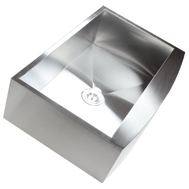 36 Inch Stainless Steel Single Bowl Curved Front Farm Apron Kitchen Sink