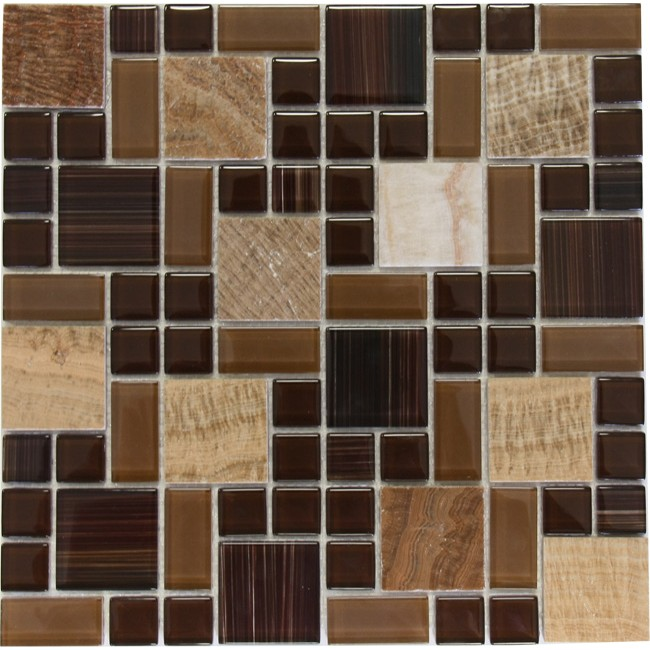Brown Marble Mixed With Glossy Chocolate Gl Mosaic Tile Mesh Backed Sheet