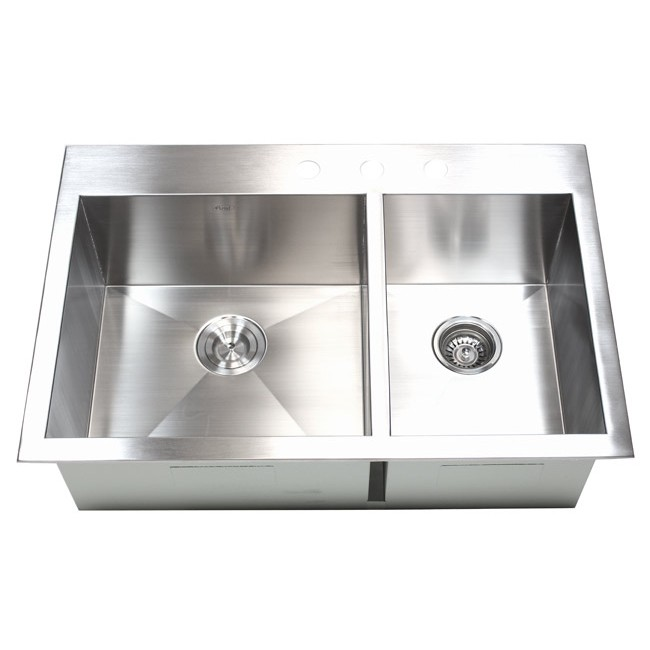 33 Inch Top Mount Drop In Stainless Steel 60 40 Double Bowl Kitchen Sink Zero Radius Design