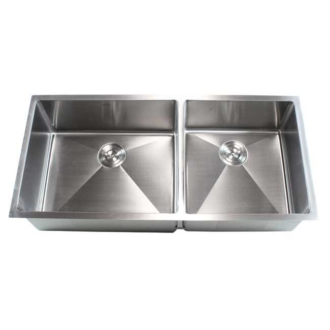Ariel 42 Inch Stainless Steel Undermount Double Bowl Kitchen Sink ...