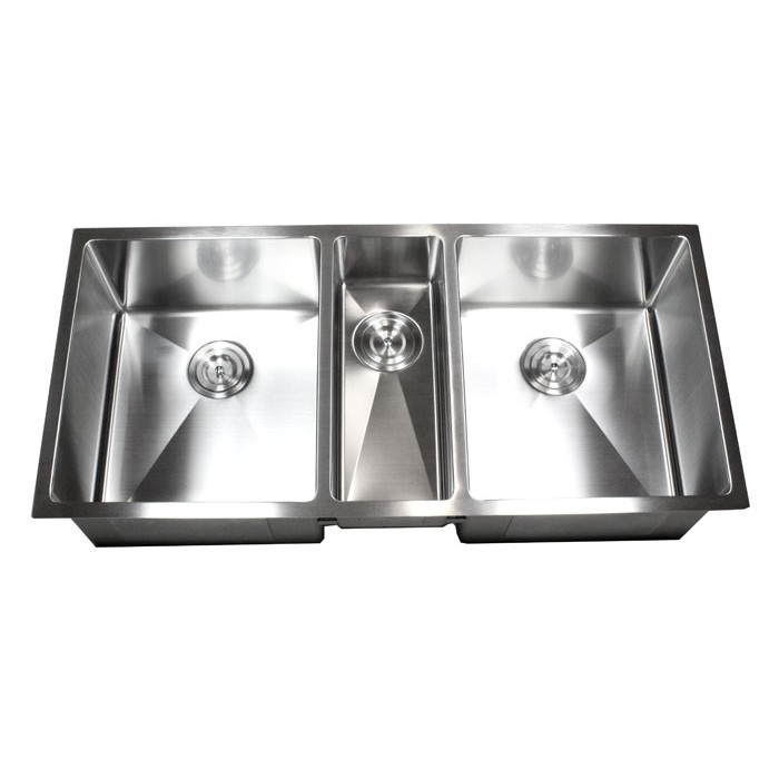 Contemporary Kitchen Designed With Undermount Sink And Led: 42 Inch Stainless Steel Undermount Triple Bowl Kitchen