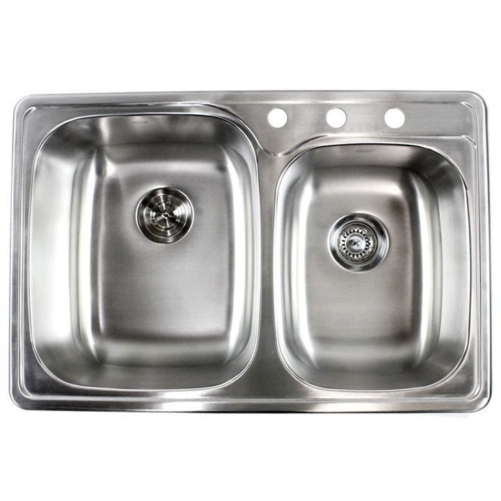 Double Bowl Kitchen Sink | 33 Inch Stainless Steel Top Mount Drop In 60 40 Double Bowl Kitchen