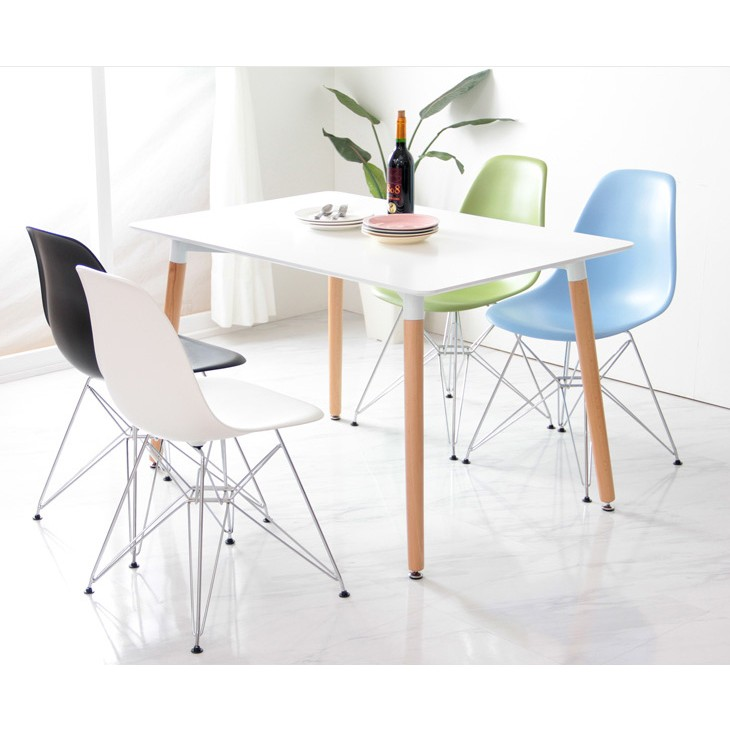 Set Of 4 Eames Style Dsr Molded Light Blue Plastic Dining